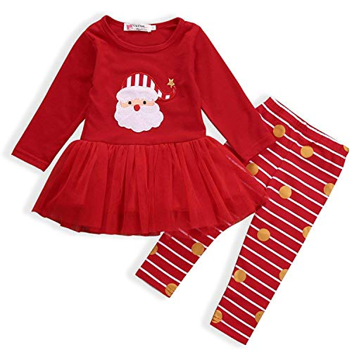 AR-LLOYD Newborn Baby Girl Christmas Santa Claus Princess Tutu Party Dresses with Striped Polka Dot Pants Outfits (Red, 130/4-5y) -