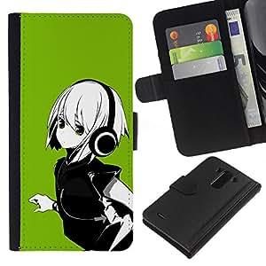 LG G3 D855 D850 D851 , la tarjeta de Crédito Slots PU Funda de cuero Monedero caso cubierta de piel ( Anime Girl White Hair Headphones Music Green)