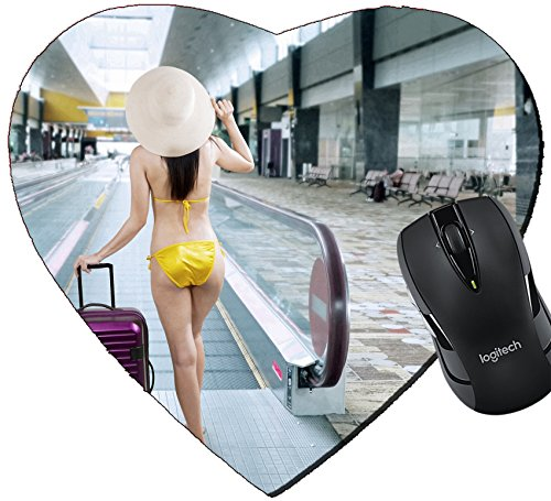MSD Mousepad Heart Shaped Mouse Pads/Mat design 29913962 Young woman wearing bikini with a suitcase walking to escalator at - Hot Airport At Women