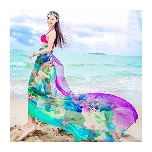 GERINLY Beach Cover Ups - Blooming Rosa Print Sarongs Chiffon (Silk Georgette Dress)