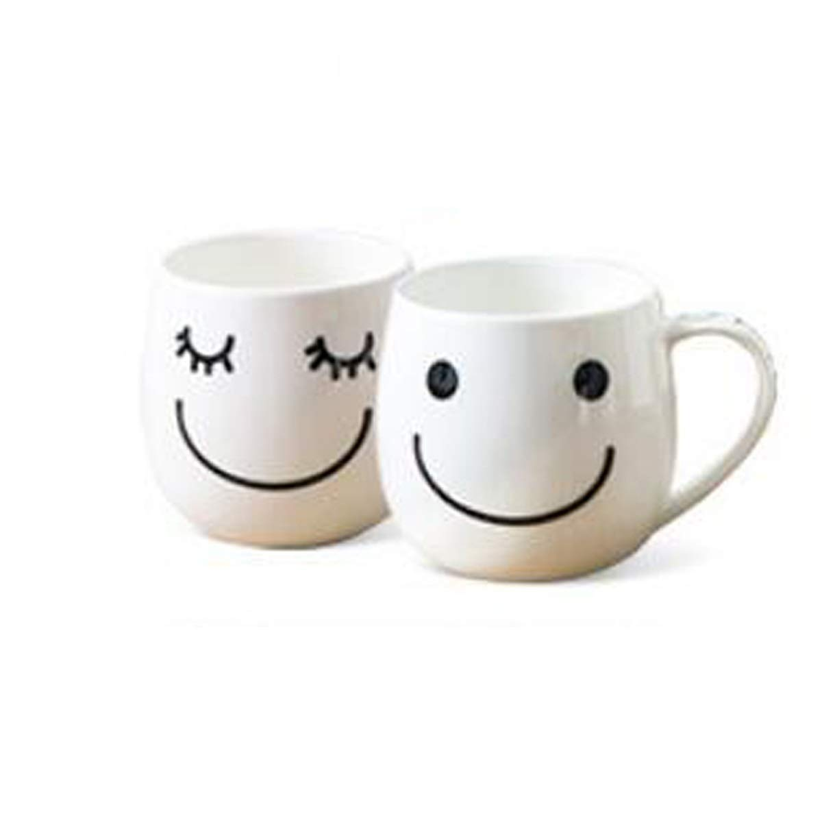 SHENGSHIHUIZHONG Porcelain Soul, Creative Cartoon Fashion Ceramic Mug, Couple Cup, Coffee Cup, Good Mood Smile Cup, 2 Pack White Coffee Cup, (Color : White)