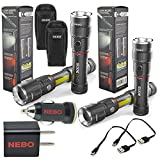 2 Pack Nebo Slyde King 6434 Rechargeable LED Flashlight Work Light Adjustable Zoom with 2x 6274 Holsters and Nebo USB Plug Adapters