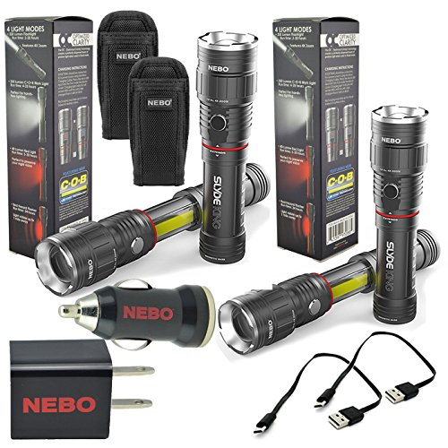 2 Pack Nebo Slyde King 6434 Rechargeable LED Flashlight Work Light Adjustable Zoom with 2x 6274 Holsters and Nebo USB Plug Adapters by NEBO