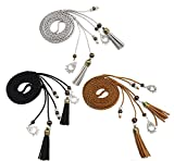 Exotic Women Girls Waist Belt/Rope/Chain with Tassel and Beads Multi Colors (pack of 3(black tan grey))