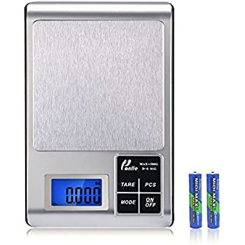 Poniie Digital Jewelry Kitchen Food Scale (Calibration Weight and Batteries Included), 500g/0.01g