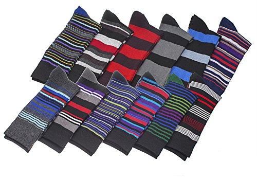 Men's Pattern Dress Socks Blend Colorful 12 Designes Size 10-13 (12 Pair) 2700