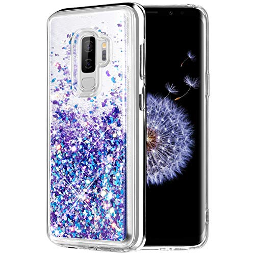 Caka Galaxy S9 Plus Case, Galaxy S9 Plus Glitter Case [Liquid Series] Luxury Fashion Bling Flowing Liquid Floating Sparkle Glitter TPU Bumper Case for Samsung Galaxy S9 Plus - (BluePurple)