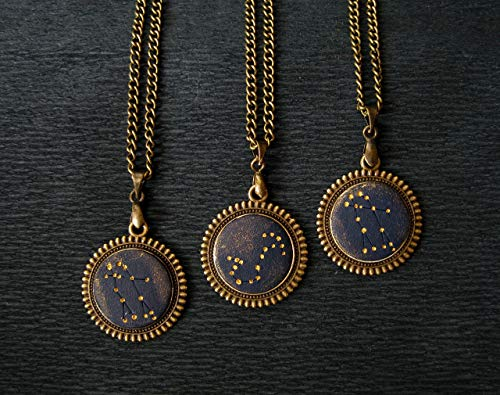 Custom constellation personalized necklace for woman men unisex Own zodiac sign Gold stars Space lover gift customized birthday present Astrology pendant Astronomy jewelry Night sky