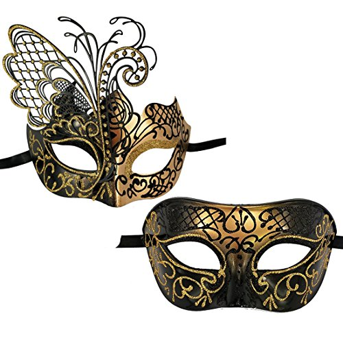 Xvevina Couples Pair Mardi Gras Venetian Masquerade Masks Set Party Costume Accessory (Black Gold Couples) -