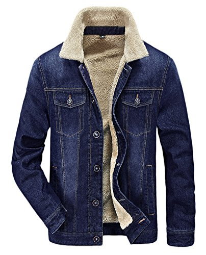 ton Warm Fur Collar Sherpa Lined Denim Jacket Button Down Classy Casual Quilted Jeans Coats Outwear Blue L (Sherpa Cotton Jacket)