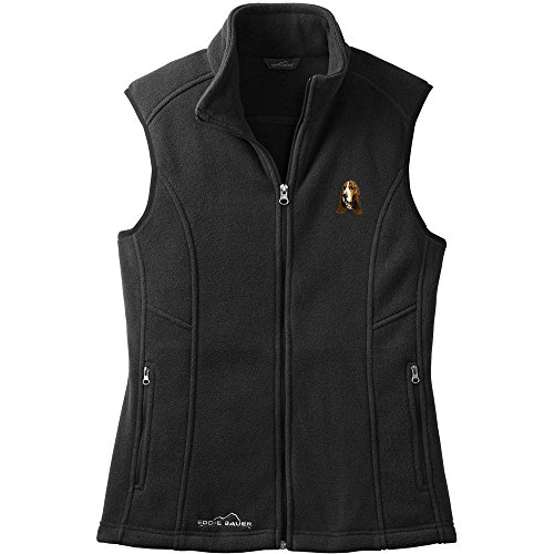 Cherrybrook Dog Breed Embroidered Womens Eddie Bauer Fleece Vest - X-Small - Black - Basset Hound