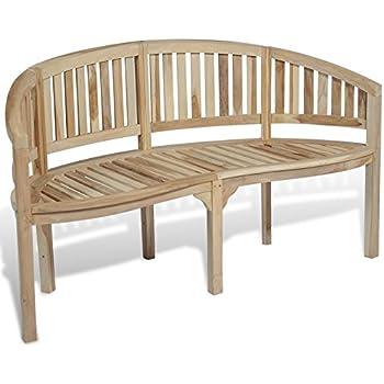 Surprising Vidaxl Patio Garden Teak Curved Banana Wooden Bench Chair Seat Outdoor 3 Seater Spiritservingveterans Wood Chair Design Ideas Spiritservingveteransorg