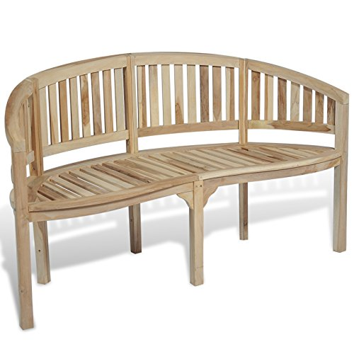 vidaXL Patio Garden Teak Curved Banana Wooden Bench Chair Seat Outdoor 3-Seater (Backless Bench Curved)
