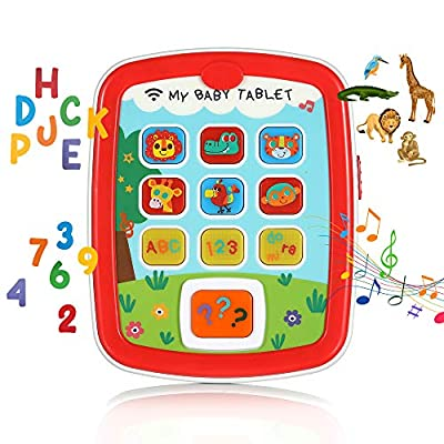 Learning Tablet for Toddlers and Kids Age 8 Months+, Educational and Interactive Touch Pads for Children to Learn Numbers, Alphabet, Animals, and Play Music, with Lights, Sounds and Asks Questions: Toys & Games