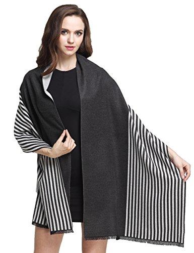 Camii Mia Women's Warm Soft Cashmere Feel Striped Shawl Wrap (One size, Black White)