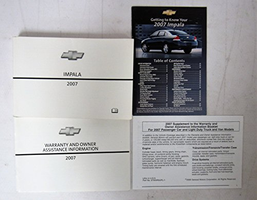 2007 Chevy Chevrolet Impala Owners Manual Guide Book