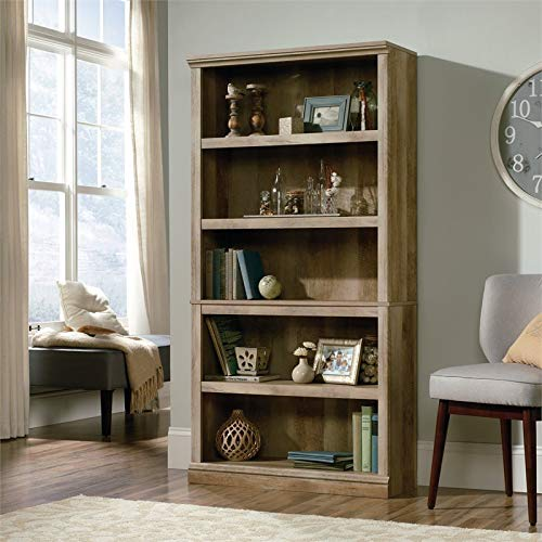 Sauder 5-Shelf Bookcase, Lintel Oak finish (Oak Units Shelving Living Room)