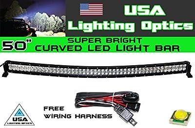 "50"" 288w Curved LED Light bar by USA Light Optics TM spot flood combo beam Lumens 20160LM, Great for Offroad Trucks, 4x4 radius fog, Jeeps, Truck, UTV SUV 4WD"