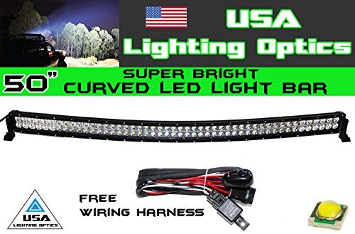 50'' 288w Curved LED Light bar by USA Light Optics TM spot flood combo beam Lumens 20160LM, Great for Offroad Trucks, 4x4 radius fog, Jeeps, Truck, UTV SUV 4WD by USA Light Optics