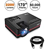 KUAK Mini Projector, 2200 Lumens 170 Display 50,000 Hour LED Full HD Multimedia Home Theater Video Projector Support 1080P HDMI USB VGA AV for Fire TV Stick PS4 Laptop Smartphone iPad- HT30&Red
