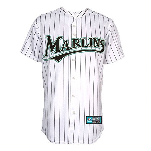 Majestic Florida Marlins MLB Mens Big & Tall White Pinstripe Replica Jersey - Size 3XT ()