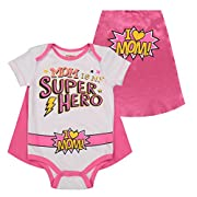 Mother's Day Super Hero Mom Infant Baby Girls' Onesie & Cape White/Pink (0-3 Months)