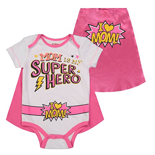 (Mother's Day Super Hero Mom Infant Baby Girls' Onesie & Cape White/Pink (18)