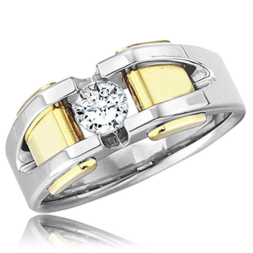18K Two-Tone White/Yellow Gold 0.40 CTW Diamond (H-I, SI2-I1) Solitaire All Bright Men's Ring, Size ()