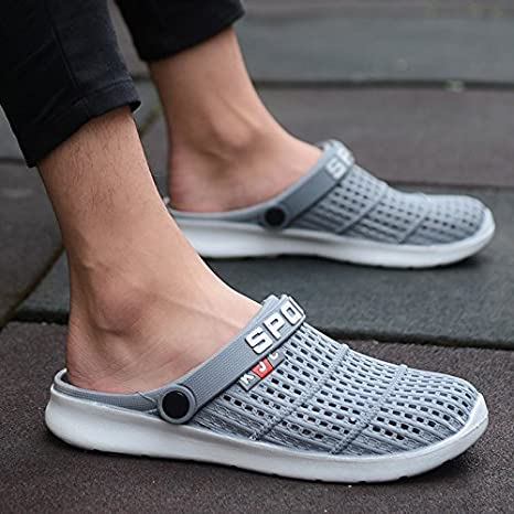Xing Lin - Sandalias de hombre con agujero para zapatos de verano, media zapatillas transpirables huecas en ...