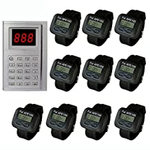 SINGCALL® Kitchen Call Waiter System,Chef Can Press a Button to Buzzer a Waiter to Pick Up the Already Dishes,Pack of 10 pcs Watch Display.