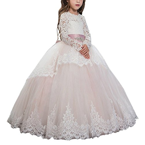 Abaowedding Pink Lace Up Long Sleeves Flower Girl First Communion Dresses US 4 Pink]()
