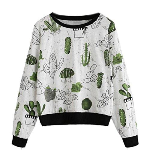Orangeskycn Women Pullover Sweatshirt Cactus Printed T-Shirt Blouse Women Fashion Tops (White, L)