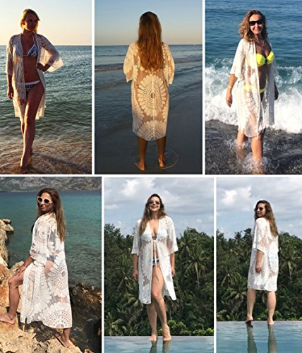 SKJIND Sexy Beach Bikini Cover up Dress,White Floral Lace Swimsuit Covers for Women Plus Size, fit for All(Size: fit for all size)
