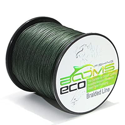 Booms Fishing ECO 100% UHMWPE Braided Fishing Line 150Yards-1000Yards,Test 6LB-100LB,Green Gray Yellow