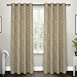 Exclusive Home Kilberry Woven Blackout Window Curtain Panel Pair with Grommet Top 52×84 Natural 2 Piece
