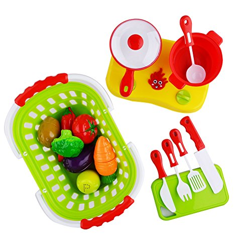 Acekid 20pcs Cutting Food Set Kid Pretend Cooking Toys Playset Plastic Fruits Vegetables with Basket Cookware Stovetop Childrens Toy Stove