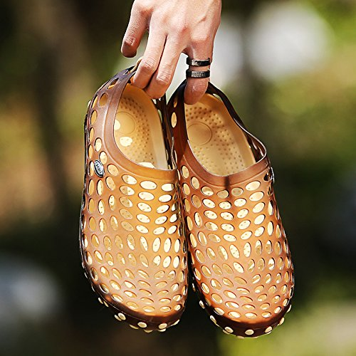Xing Lin Sandalias De Hombre Nuevas Sandalias Hombre De Baotou Zapatillas Hembra De Plástico Antideslizante Orificio Sandalias De Verano Transpirable Zapatos Calzado De Playa Hombres Brown rice