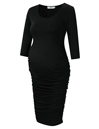 63c94dbc1438 Coolmee Maternity Dress Ruched Round Neck Maternity Dresses at ...