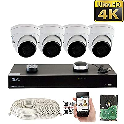 GW H.265 PoE NVR Ultra-HD 4K 2160P Security Camera System with 4K (8MP) IP Dome Weatherproof Surveillance Camera by GW Security Inc