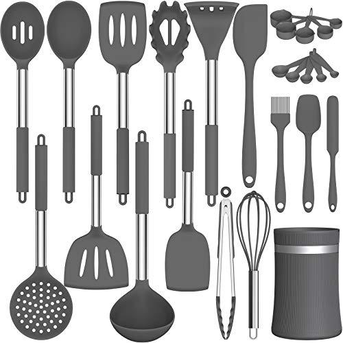 Kitchen Cooking Utensils Set, AIKKIL 26 pcs Non-stick Silicone Kitchen Utensils Spatula Set with Holder, Heat Resistant…