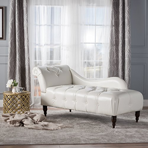 - Christopher Knight Home 300526 Antonya Leather Tufted Chaise Lounge Ivory