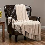 Chanasya Chenille Velvety Texture Decorative Throw Blanket with Tassels Super Soft Cozy Classy Elegant with Subtle Shimmer for Sofa Chair Couch Bed Living Bed Room Ivory Throw Blanket (50'x65')- Cream