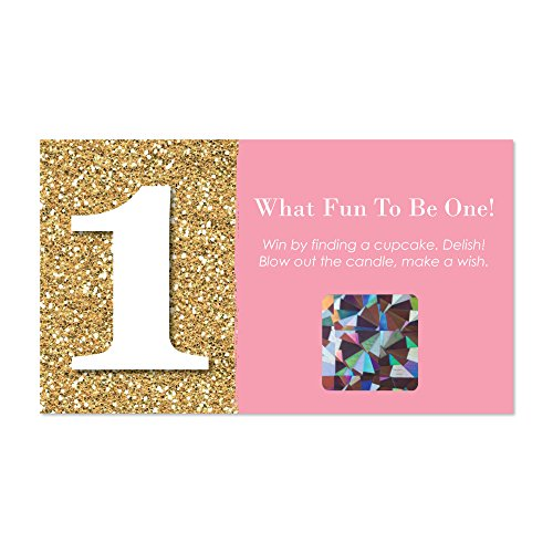 Big Dot of Happiness 1st Birthday Girl - Fun to be One - First Birthday Party Game Scratch Off Cards - 22 -