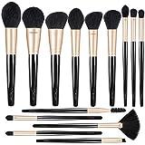 BESTOPE Makeup Brushes, Black Gold Luxury Series Professional Premium Synthetic Cosmetic Brushes Set Kit for Blending Foundation Powder Blush Concealer Highlighter Eyeshadows(14 PCs)