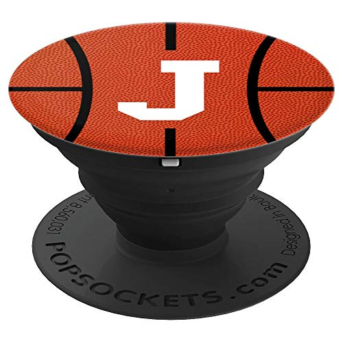 Sport Style White Letter J Basketball Fan - PopSockets Grip and Stand for Phones and Tablets -