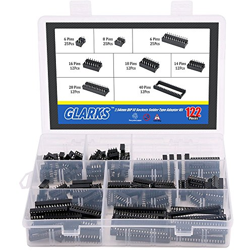 Glarks 122Pcs 2.54mm Pitch DIP IC Sockets Solder Type Adaptor Assortment Kit (6/8/14/16/18/24/28/40 Pins)