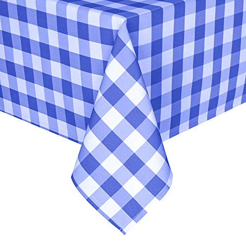 Homedocr Royal Blue Checkered Tablecloth Square - Stain Resistant, Waterproof and Washable Gingham Table Cloth for Holiday Dinner and Outdoor Picnic, 60 x 60 Inch
