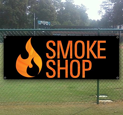 - Smoke Shop 13 oz Heavy Duty Vinyl Banner Sign with Metal Grommets, New, Store, Advertising, Flag, (Many Sizes Available)