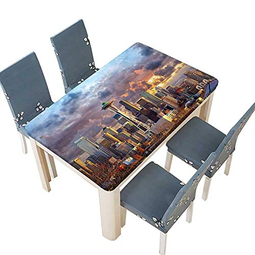 PINAFORE Solid Tablecloth Collection Seattle Skyline at Sunset WA USA Sun Lights Through Dramatic Clouds Scene Table Cover W41 x L80.5 INCH (Elastic Edge) (Best Crawfish In Seattle)