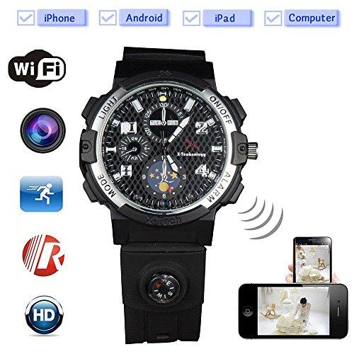 KEQI Smart WiFi Watch Remote Monitoring Mini Camera Wireless Watch 720P HD IP P2P Night Version DV Video Audio Recorder (Built in 32GB) ()
